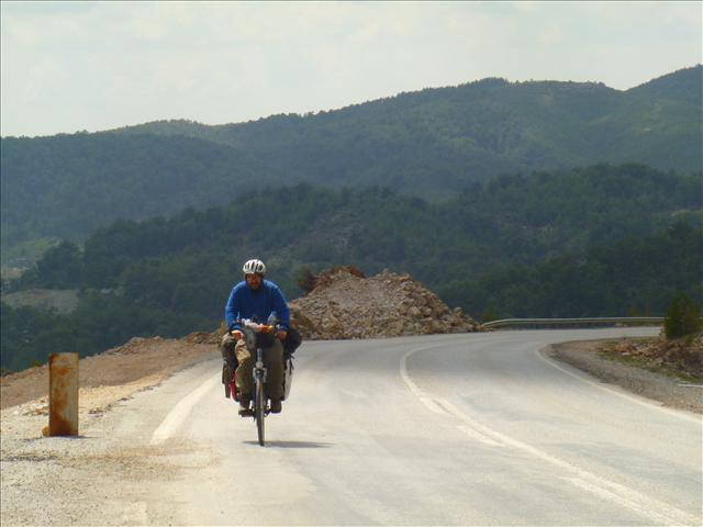Roberto enjoys a climb on   a paved road