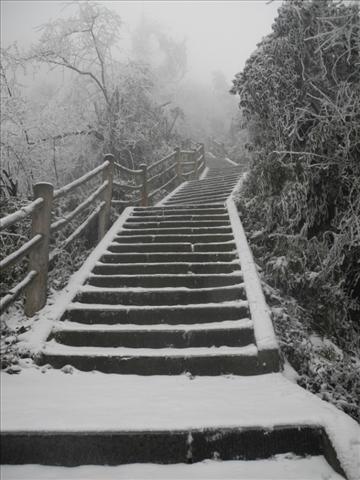 Emei Shan stairs in winter