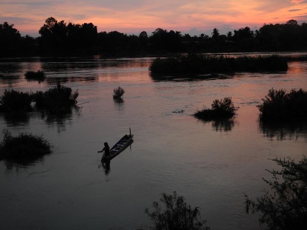 Sonnenaufgang überm Mekong in Don Det