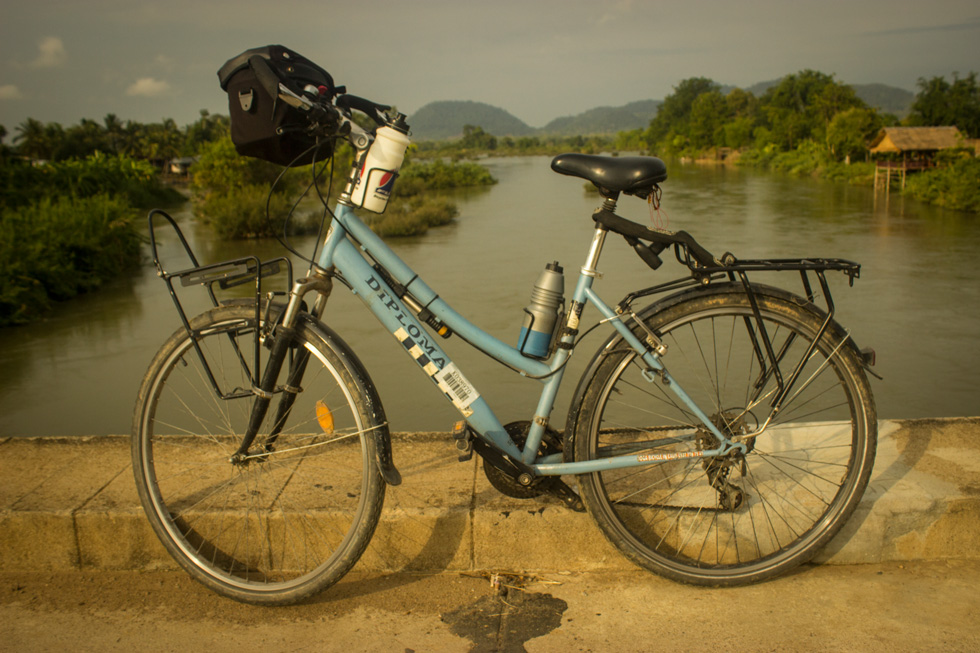 The morning sun lights the my bike, ready for a joyride on the island.