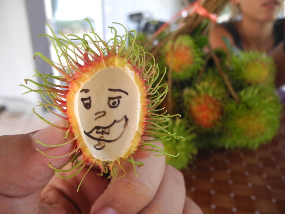 Sometimes there lives a small person inside the rambutan shell.