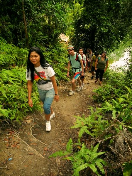 Hiking to Batam's waterfall