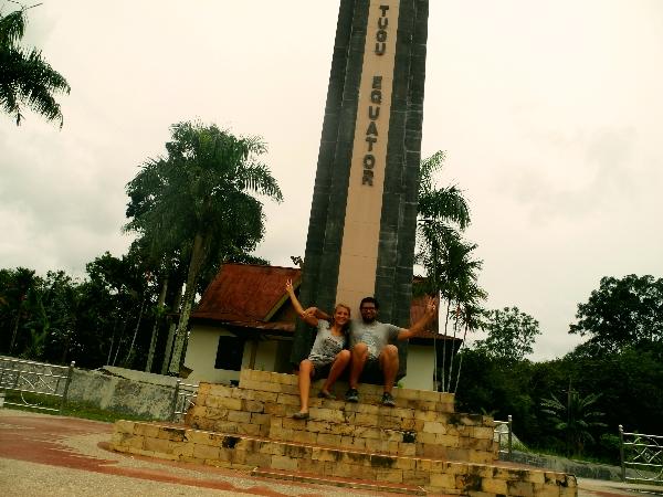 Annika and Roberto at the equator in Sumatra