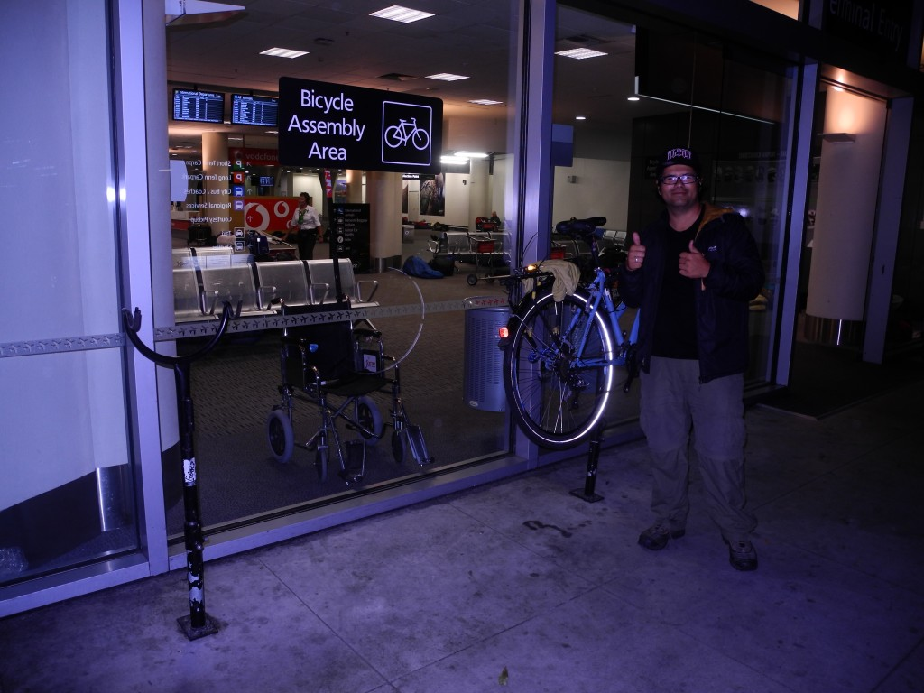 Bike assembly area at Christchurch Airport