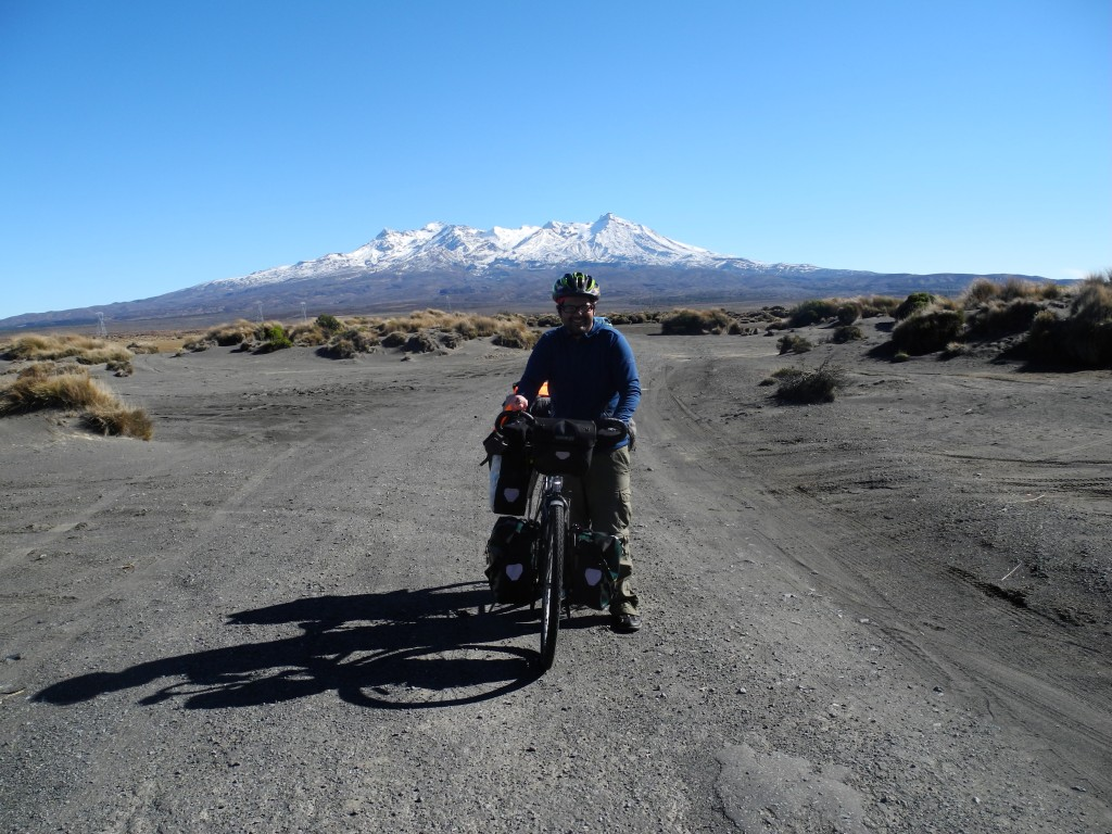 Cycling Tongariro National Park on the Desert Road, New Zealand