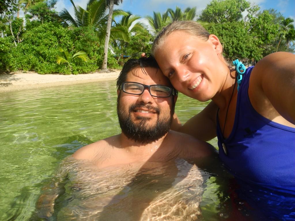 Swimming at Pangaimotu Island