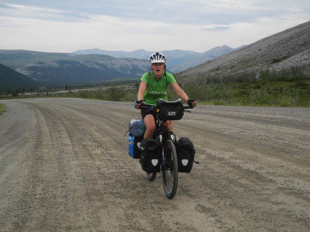 Denise on the Dempster Highway Windy Pass.