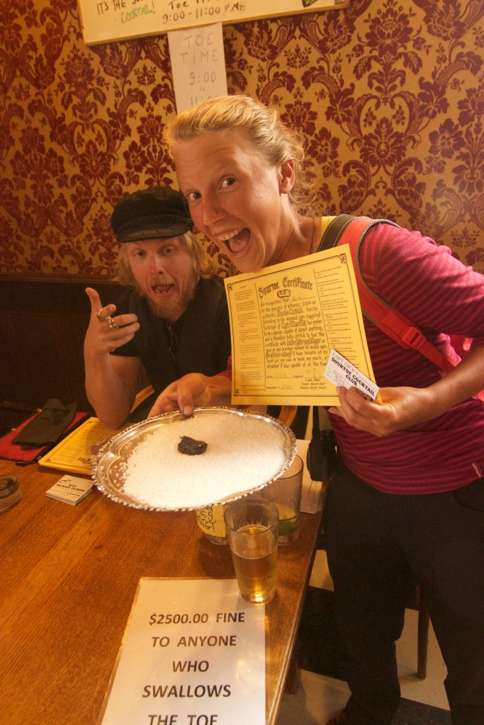 Annika and her Dawson City Sourtoe Cocktail Club Certificate