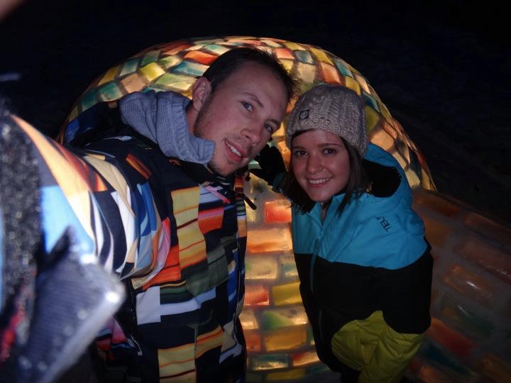 Dan and Kat in their Igloo