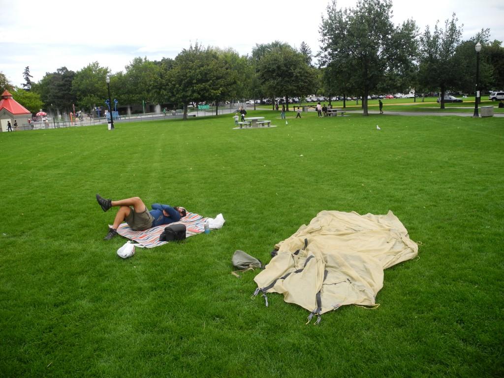 Break in the city park.