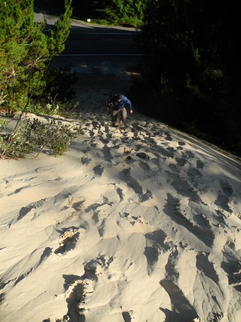 Roberto climbs the dunes
