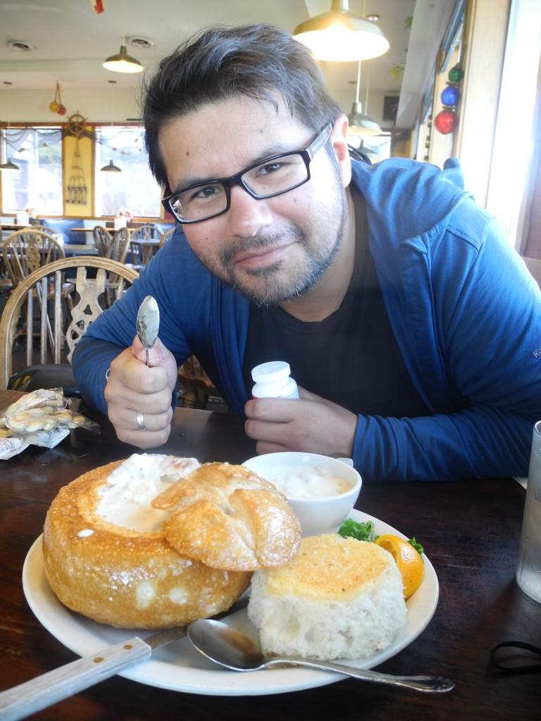 Oregon Clam Chowder in a sourdough bread