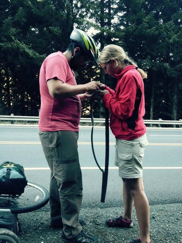 Teamwork bike fixing