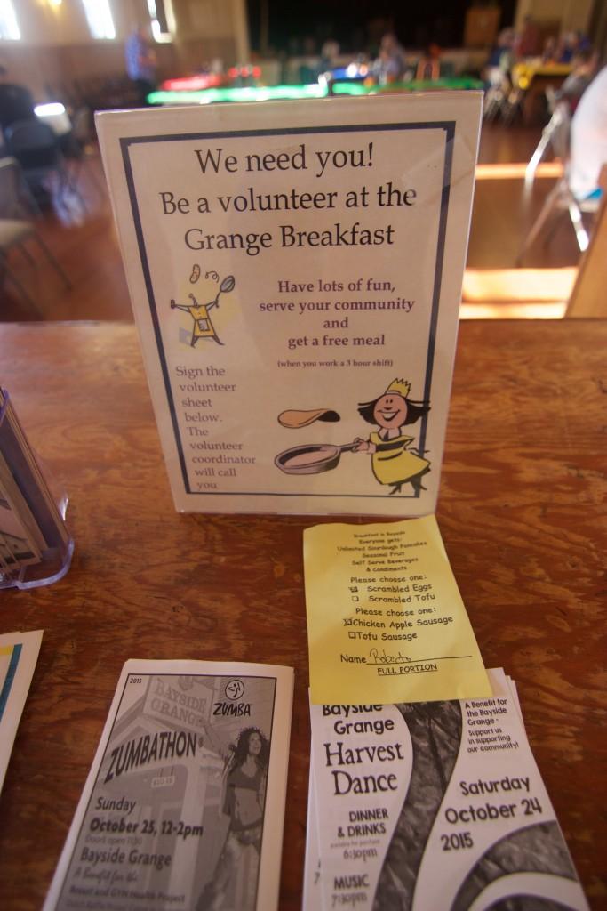 Volunteer as a breakfast helper and get the next breakfast free!