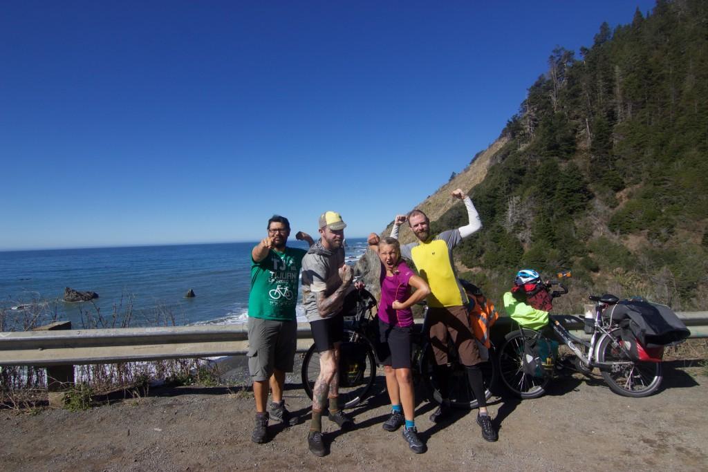 Happy Cyclists in Mendocino County
