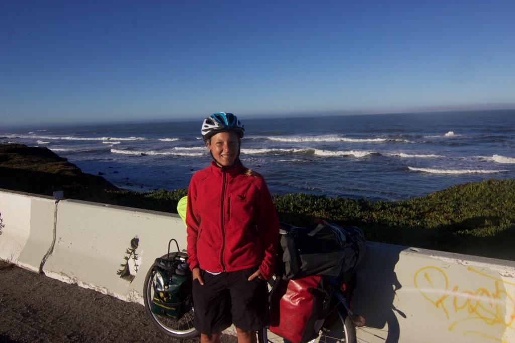Biking along the Pacific Ocean