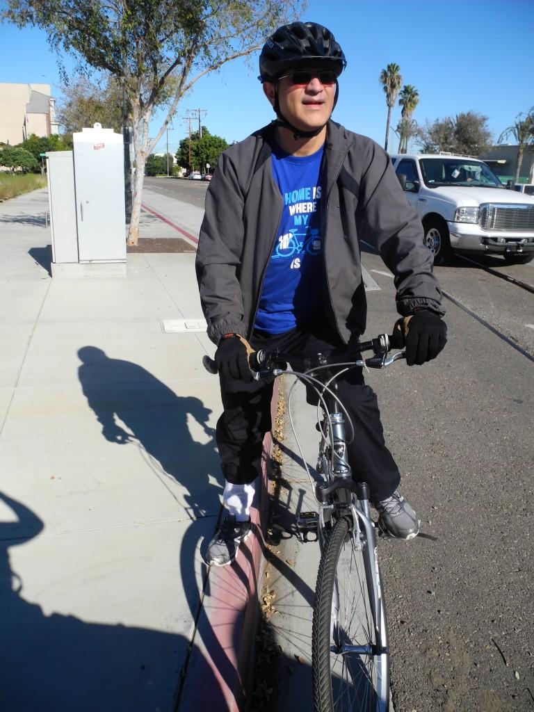 Héctor on a bike