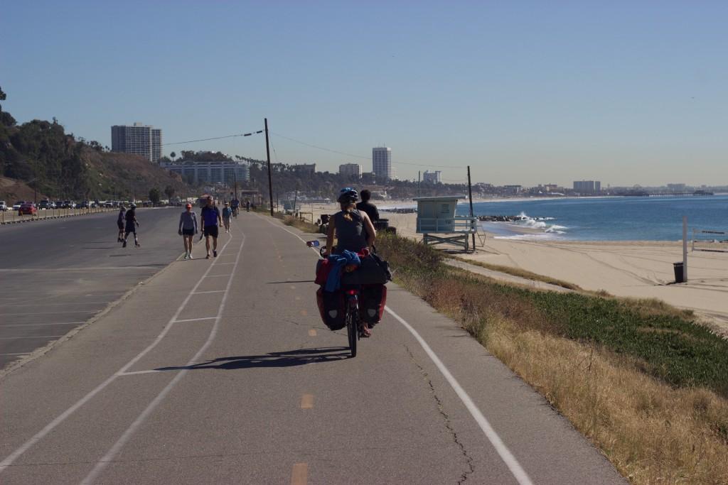Entering Los Angeles by bike