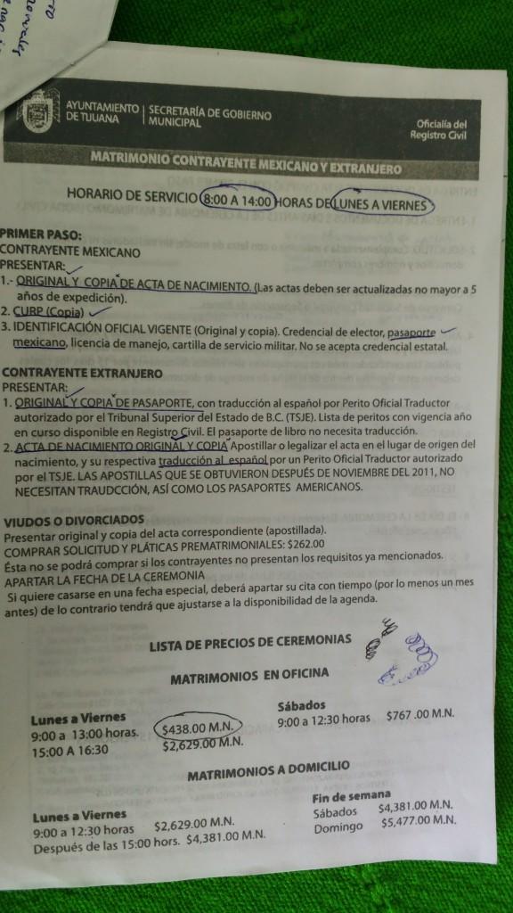 Formulare und Papiere fürs Standesamt Mexiko