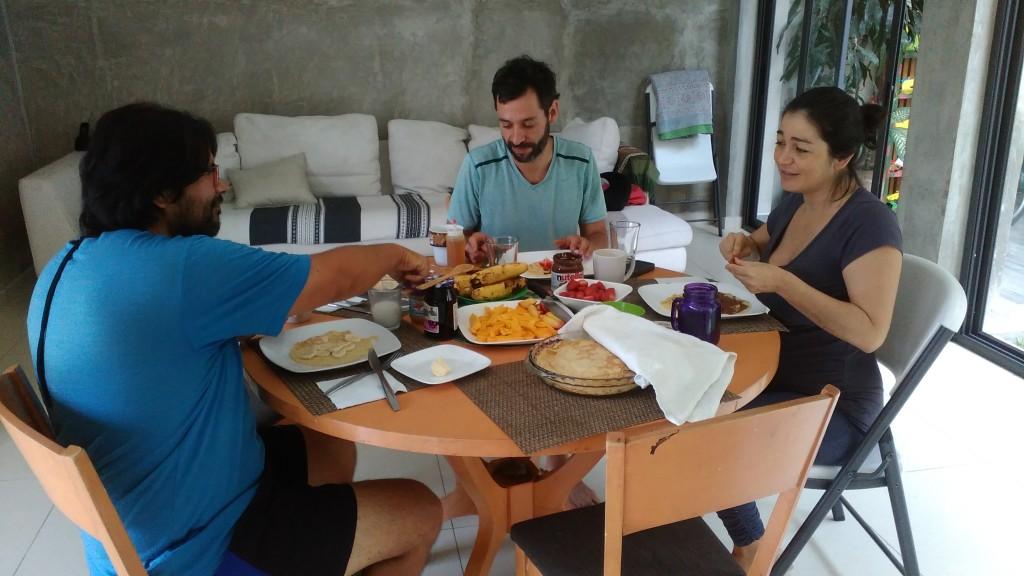 Roberto, Andres and Carla at breakfast