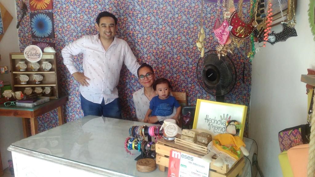 """Nachito and his family in their shop """"Hecho a mano Creadores Mexicanos"""""""
