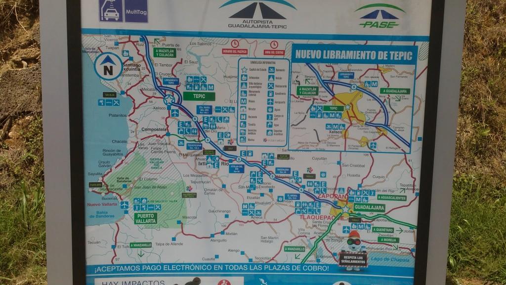 Autopista Mazatlán Guadalajara via Tepic mapa