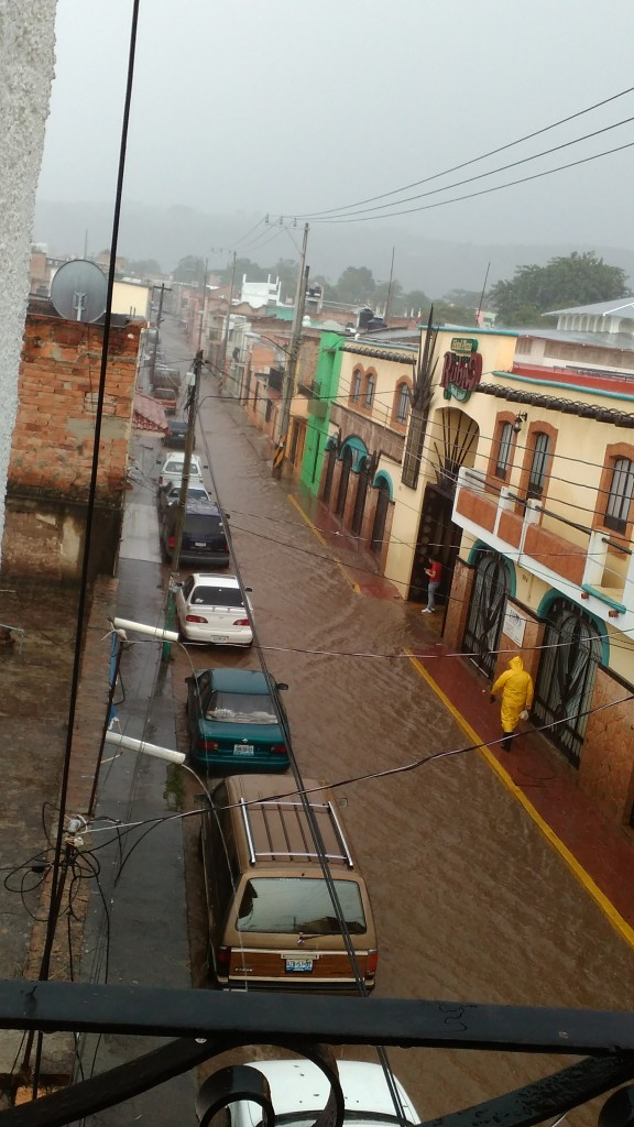 Flooded street in Tequila, Jalisco