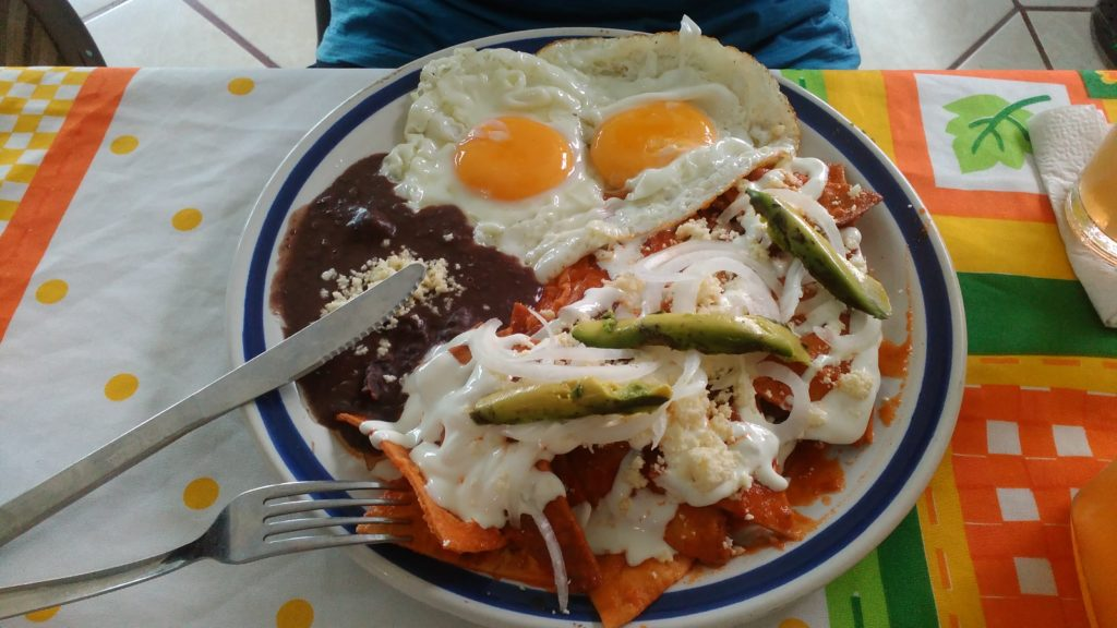 Chilaquiles - vegetarian Mexican breakfast
