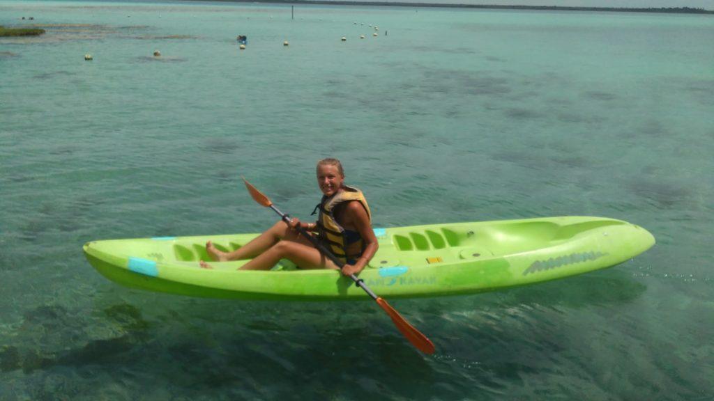 Annika kayaking the Laguna de Bacalar