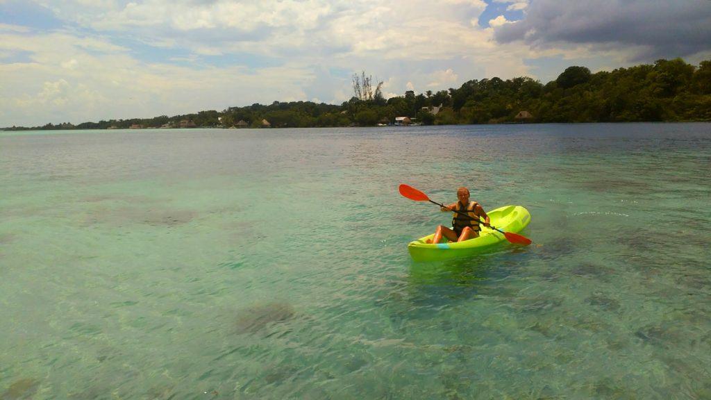 Annika kayaking in Bacalar