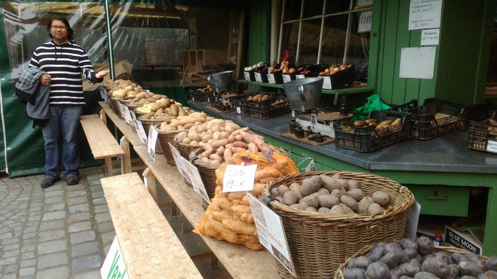 Viele verschiedene Kartoffelsorten auf dem Markt