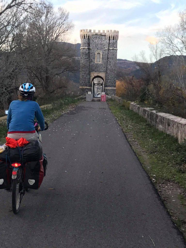Crossing a very special bridge at the Via Rhona