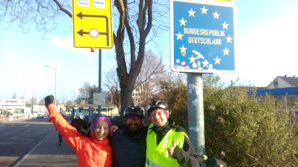 Annika, Roberto and Fabian at the German-French border