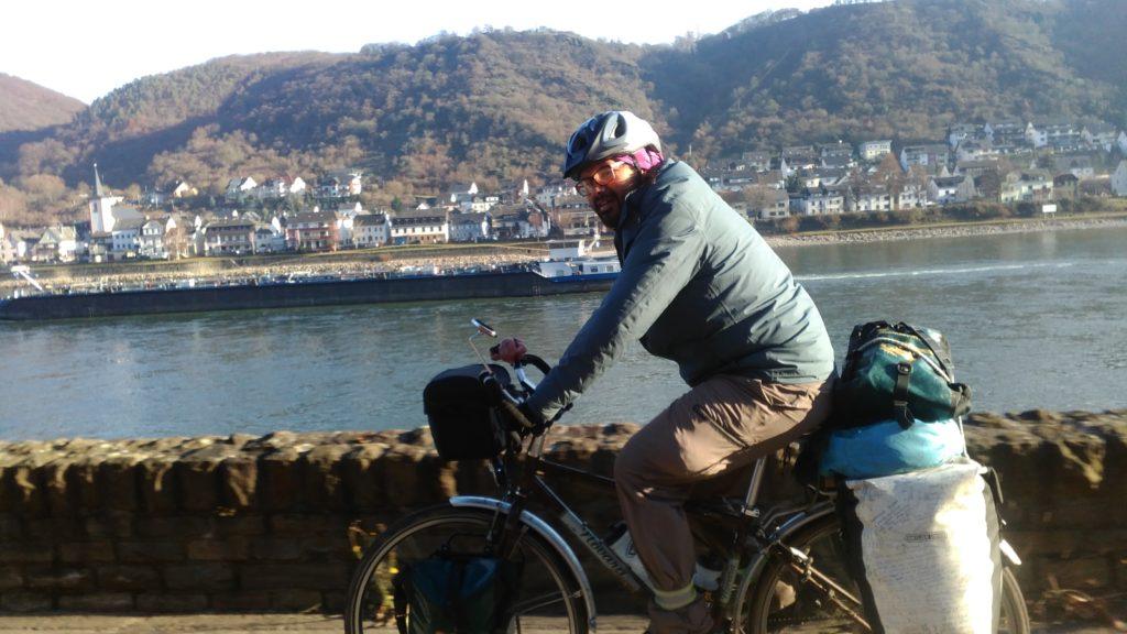 Roberto along the Rhine bikepath