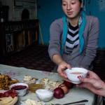 Kyrgyg Breakfast with hot tea.